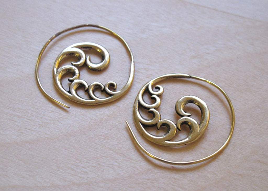Brass Wave 2 Earrings