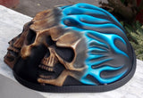 Low Profil Cruiser Half Motorcycle Helmet Skull Death Blue Fire Skulls