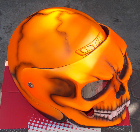 Helmet with Skull Visor in a bright Orange