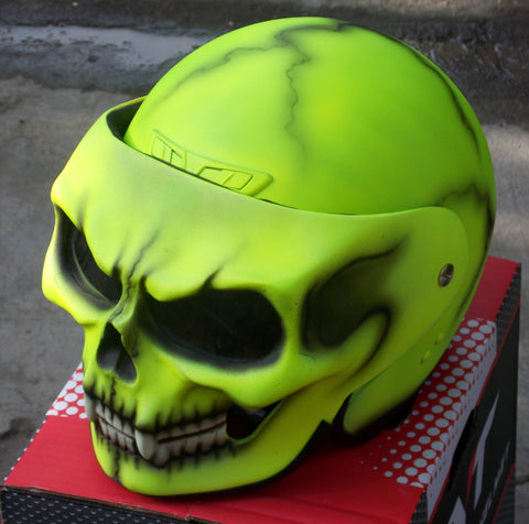 DOT Helmet Yellow Death Skull Helmet