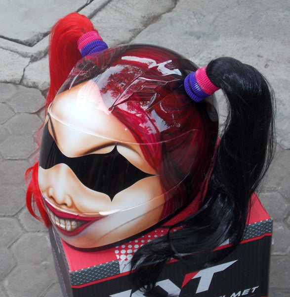 Cute Girls Motorcycle Custom Helmet Harley Quinn Ponytails