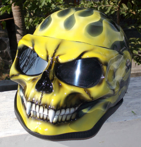 Ghost Rider Yellow Fire Skull Face Helmet