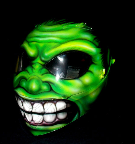 Custom 3d Painted Airbrush Motorcycle Helmet HULK Monster Marvel Averangers Bruce Banner Green