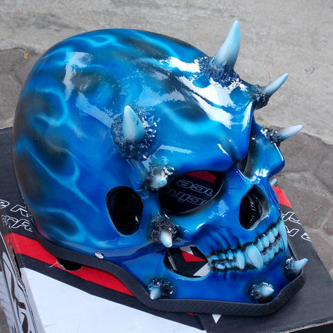 Blue Beast On Fire Metallic Blue Helmet