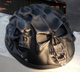 Low Profile Cruiser Skull Helmet Silver Black Flames