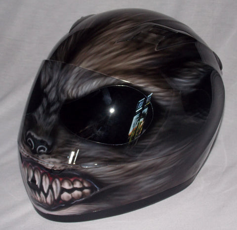 Custom helmet, Custom motorcycle helmet, Superbike helmet, Bike helmet, Carting helmet, Crash Helmet, Airbrush painted Werewolf