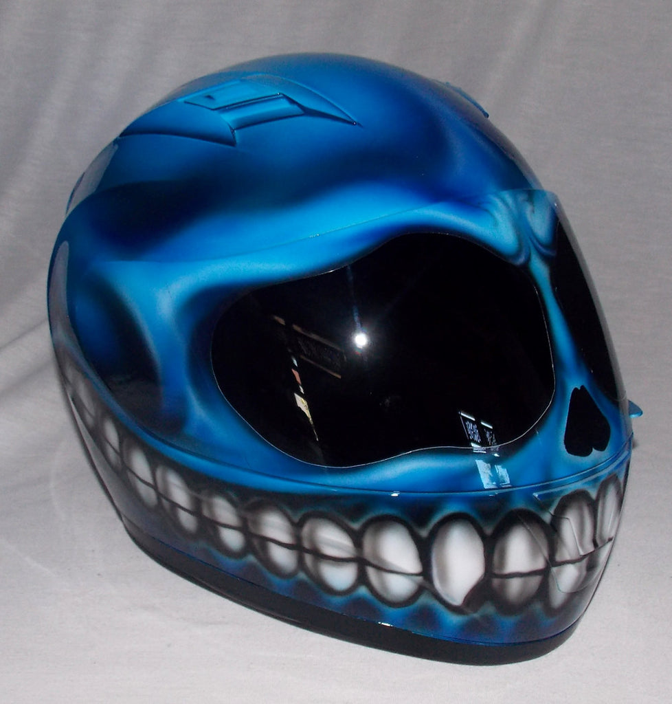 Smiley Superbike Big Bike Crash Carting Helmet Blue