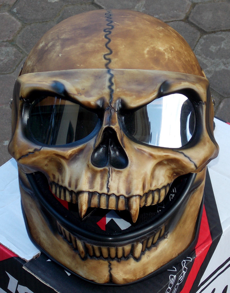 motorcycle helmet skull skeleton monster ghost visor shield full