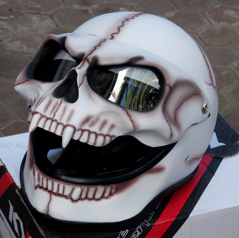 Motorcycle Helmet Skull Bones Death White Ghost Rider