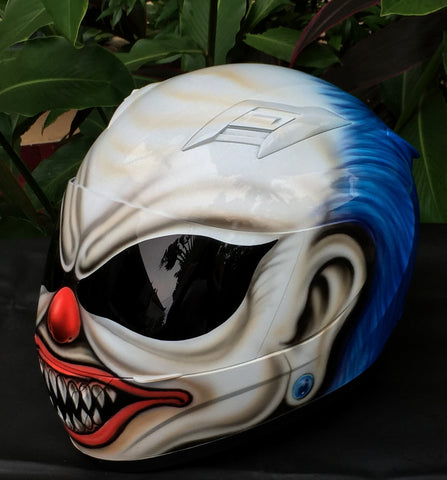 Blue Hair Crazy Killer Clown Helmet Diamond Ear Rings
