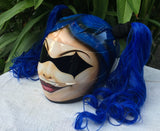 Girls Helmet Harley Quinn Blue long Pigtails Biker Chicks