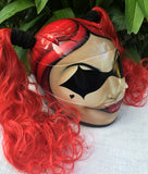 Custom Helmet Harley Quinn Red Ponytails Sexy, Hot & Cute