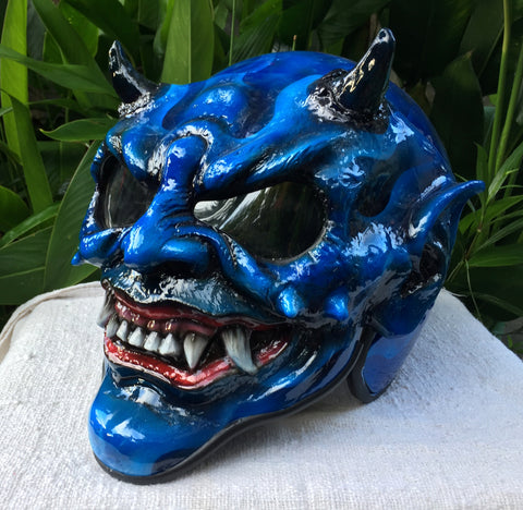 Beast X-Men Blue Monster Horn Satan Custom Demon DOT Helmet Devil 3D