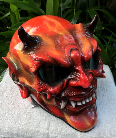Hellboy Evil Monster Horn Satan Custom Demon DOT Helmet Devil 3D