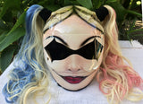 Girls Helmet Harley Quinn The Joker Girls Helmet Blonde Ponytails DC Heros