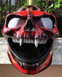 Burning Skull Hellfire Motorcycle Helmet Airbrushed Red Flames