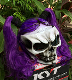 Girls Motorcycle Helmet Skull Ponytail Ghost Rider Purple Rain