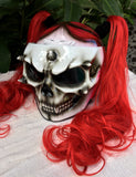 Grils Skull Motorcycle Helmet with Cute Red Hair Ponytails