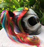 Rainbow Pigtail Girls Skull Helmet Sugar Skull Cute Biker Girls Helmet