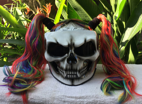 White Skull Rainbow Ponytails Custom Airbrush Girls Helmet
