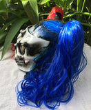 Girls Helmet Biker Red Blue Hair Ponytail Ghost Rider White Skull