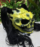 Ponytails Girls Helmet Grim Reaper on Fire in Yellow Black Piggytails