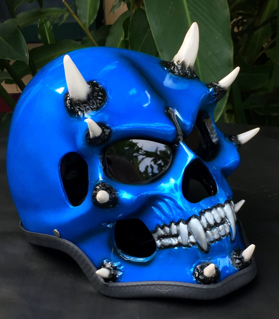 Monster Blue Beast On Fire Metallic Skull Helmet