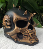 Mohawk Demon Skeleton Punk Skull Spikes Helmet Antique Brown Black