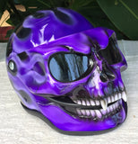 Purple Rain Girls Fire Skull Flip Up Motorcycle Helmet Airbrushed Purple Flames