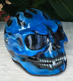 Blue Fire Skull Flip Up Motorcycle Helmet Airbrushed Blue Flames Express shipping