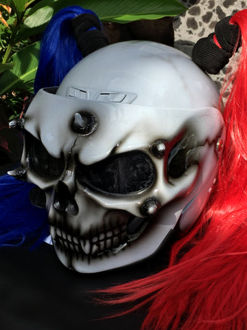 Biker Girls Helmet Ponytail Ghost Rider White Skull