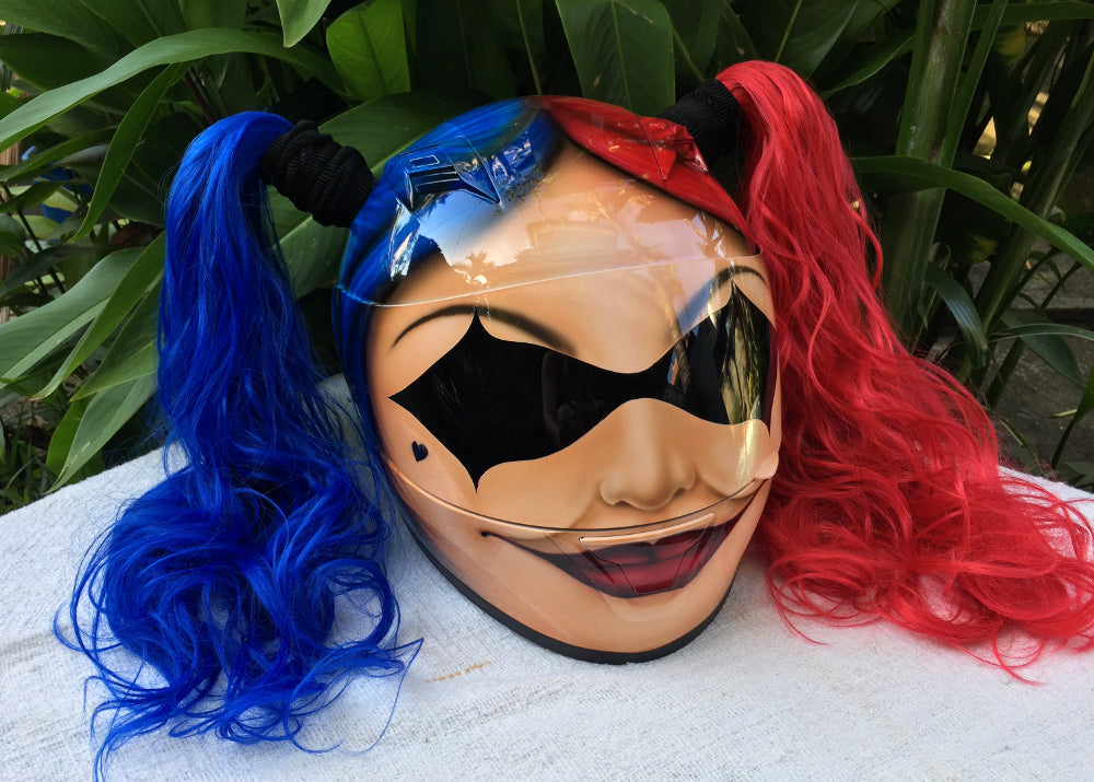 Cute Ladies Helmet Hot Sexy Girls Helmet Harley Quinn Red Blue Ponytails