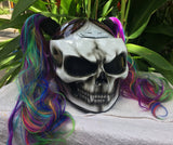 Girls Helmet Skull Rainbow Ponytails Custom Airbrush Girls Helmet badass