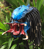 Predator Blue Classic Alien Custom Motorcycle Airbrush Helmet Skull Dreadlocks Free Shipping