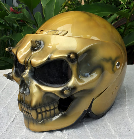 Golden Skull Custom Helmet Ghost Rider Monster Gold Grim Reaper Skeleton