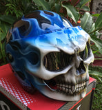 Blue Fire Skull Firestorm Blue Flames Monster Helmet