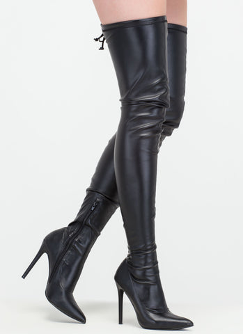 Faux Leather Thigh-High Boots