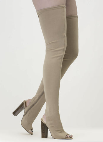 Beige Skintight Chunky Wooden Heel Tied Thigh-High Peep Toe Boots