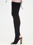 Skintight Chunky Wooden Heel Tied Thigh-High Peep Toe Boots