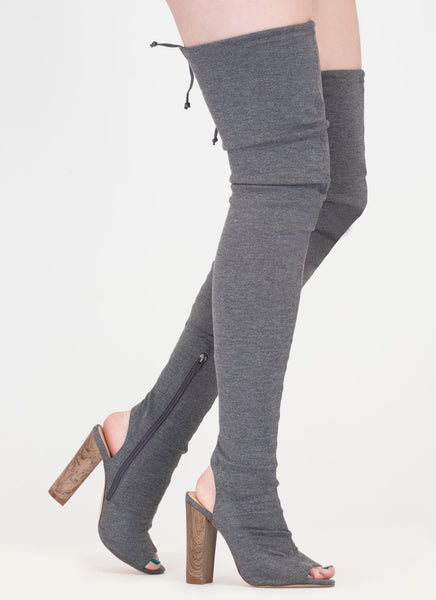 Grey Skintight Chunky Wooden Heel Tied Thigh-High Peep Toe Boots