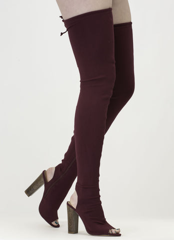 Wine Skintight Chunky Wooden Heel Tied Thigh-High Peep Toe Boots