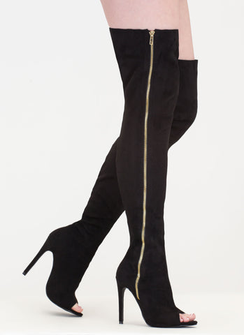 Suede Side Zipper Thigh-High Peep-Toe Boots