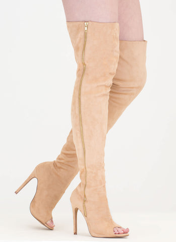 Camel Suede Side Zipper Thigh-High Peep-Toe Boots