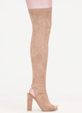 Chunky Faux Suede Peep Toe Thigh High Boots