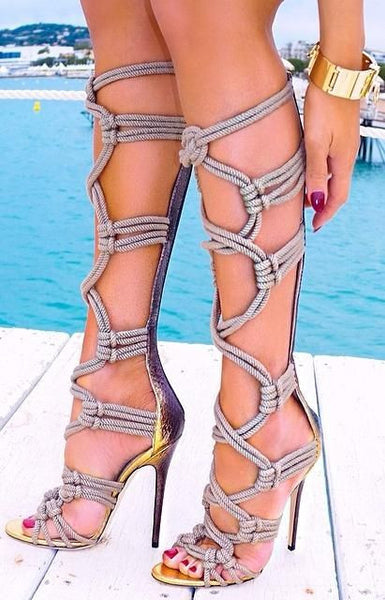 Grey Stiletto Gladiator Heels