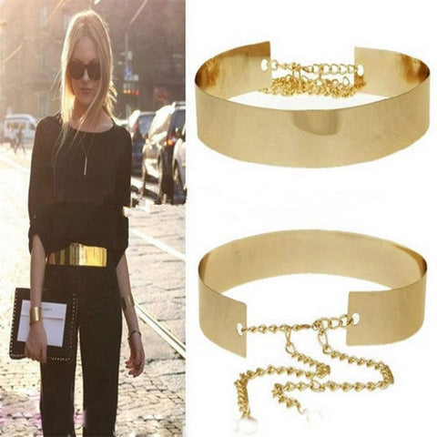 Metallic Gold Plate Wide Belt