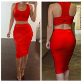 2 Piece Set Crop Top and Bodycon Knee Length Skirt