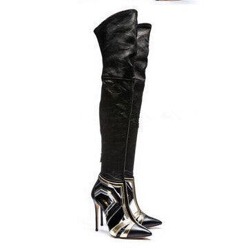 Thigh High Stiletto Heels Cut-outs Soft Leather Pointed Toe Boots