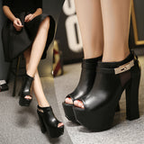 Genuine Leather Side Lock Ankle Boots