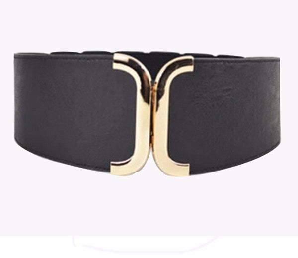 Leather Wide Belt Cummerbund with Metal Clasp